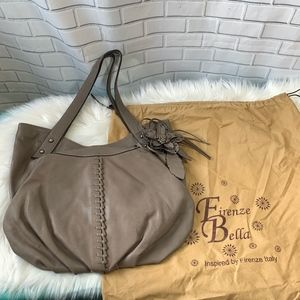 Firenze Bella Taupe Leather Bag W/Flower Detail